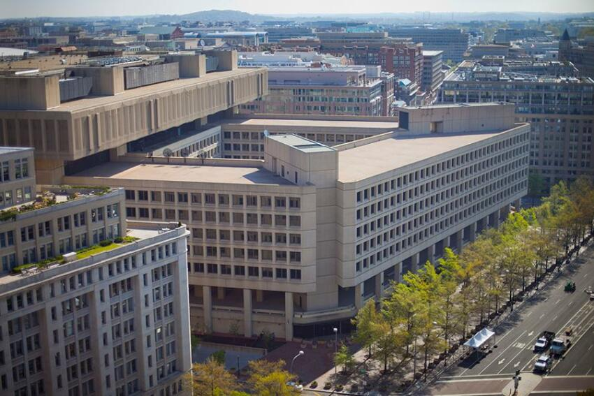 The FBI's current Washington, D.C., headquarters in the J. Edgar Hoover building.