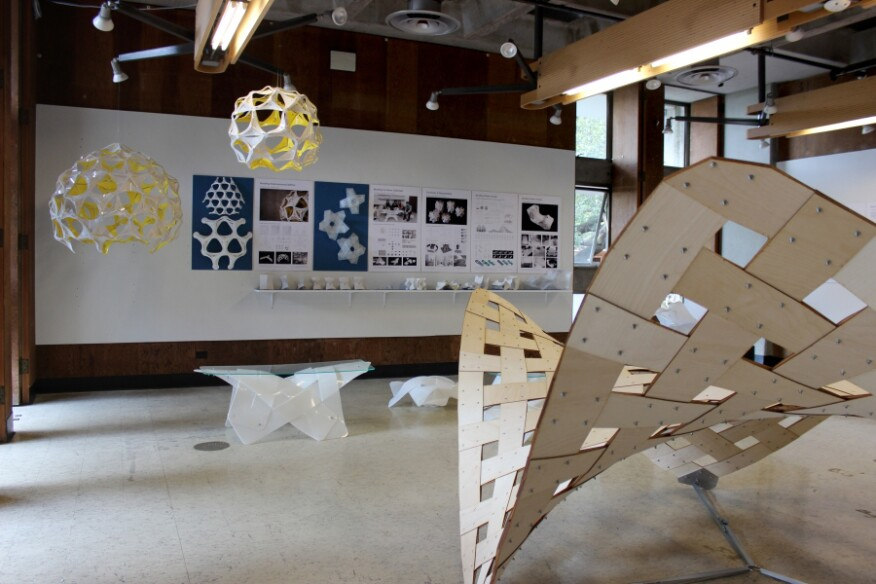 """Out of Plane: Designing Flexible Structures"" exhibition by Simon Schleicher, Nov. 2015, UC Berkeley"