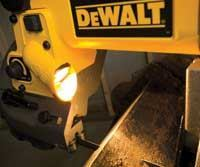 DeWalt's bright work light allows for straight cutting in even the darkest space on the job.