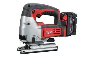Milwaukee 2645-22Stroke: 1 inch; 0-2,500  Cutting modes: Straight + 4 orbital  Bevel: Tool-free operation  LED light: No  Weight w/battery (by ToTT): 7.68 lbs  Web price (bare; kit): $129; $349  Kit includes: Two 3.0-Ah XC batteries; dual voltage charger; case  Country of origin: China  Pros: Excellent runtime; faster-than-average cutting speed; tool-free bevel lock with detents every 15 degrees  Cons: One of the bulkier tools; heaviest model tested
