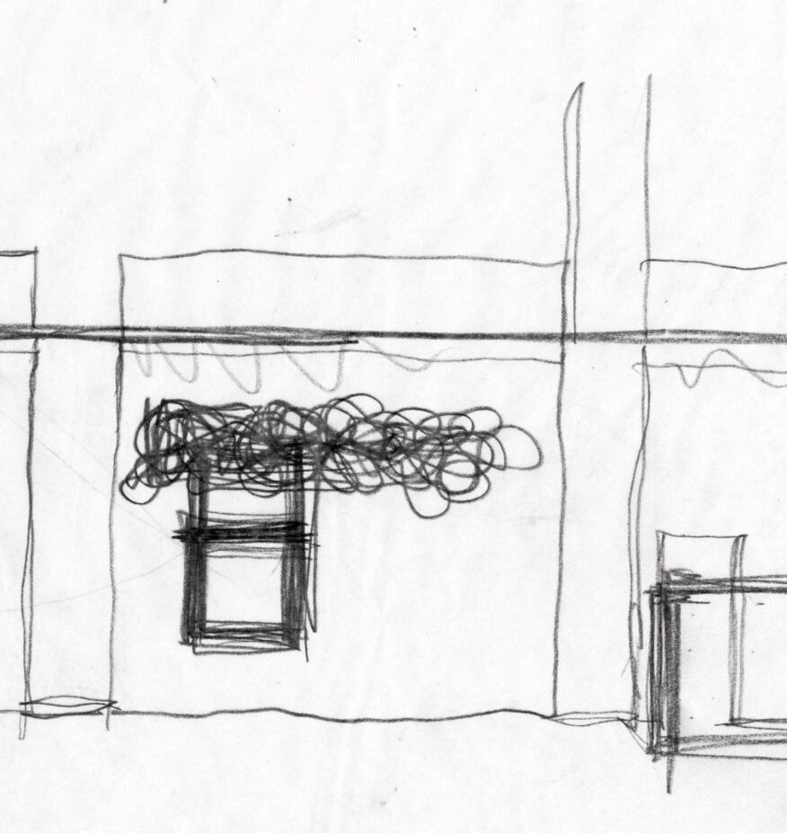 1968 sketch by Frank Gehry for the Joseph Magnin Store in Costa Mesa, Calif.