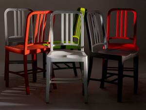 The 111 Navy Chair is available in six colors with a scratch-resistant velvet finish.