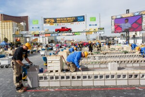 Masons compete at the Spec Mix Bricklayer 500 at World of Concrete.