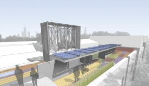 In addition to the unique wind turbines and subtle PV trellis, the 1,900-square-foot roof has ample pation space and a roof garden composed of flowering plants.