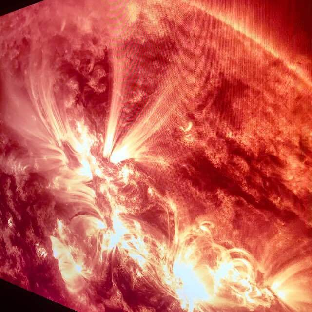 Images of the sun from NASA's Goddard Space Flight Center were shown at Swarovski's annual Design Miami dinner.