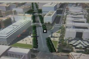 A screenshot of Arthur Cotton Moore's own design for the Dwight D. Eisenhower Memorial, which he presented during his testimony before the House Subcommittee on Public Lands and Environmental Regulation. The rendering shows heroic statues of President Eisenhower and Supreme Allied Commander Eisenhower flanking Maryland Ave. SW.