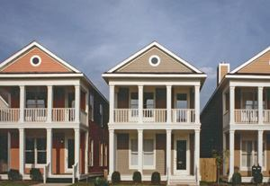 STANDING OVATION: Among the firm's 26 Builder's Choice awards, including a pair of Project of  the Year honors, Looney says a cluster of nine earned in 1993–1994 for  its work in Harbor Town in Memphis, Tenn., (including Harbor Bend Rowhouses, pictured, a  Merit Award winner in 1994) best exemplify the firm's principles  and approach to housing design.