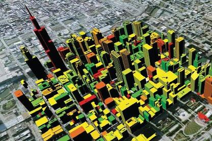 The team compiled a database of information that helped determine carbon emissions for buildings in the Chicago Loop. These emissions can now be visualized on a color spectrum from red (very high emissions) to dark green (low emissions).