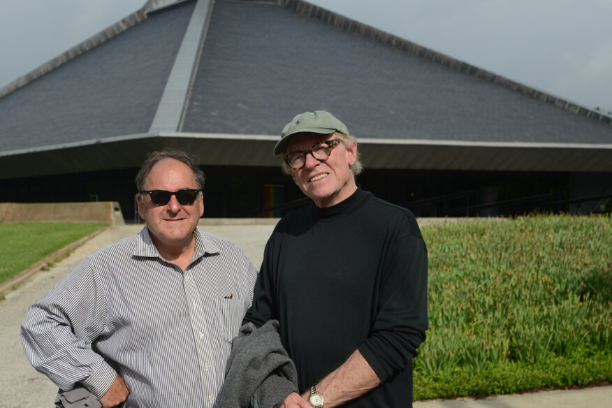 Producer and director Peter Rosen and director of photography and co-producer Eric Saarinen, ASC, in front of North Christian Church in Columbus, Indiana