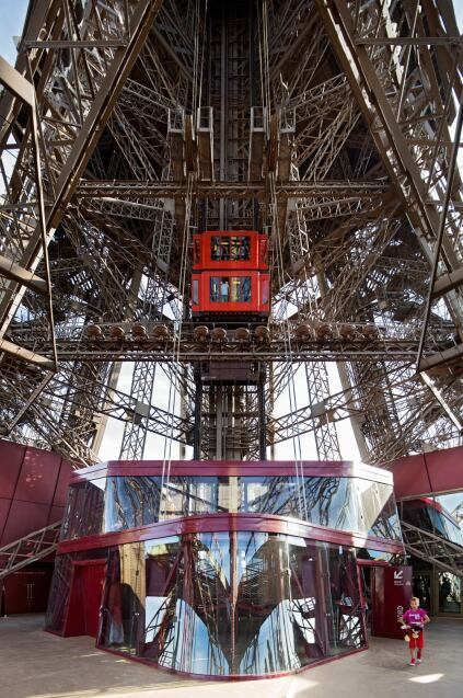 The north and west elevator shelters were rebuilt as part of the Eiffel Tower's first-floor renovation.