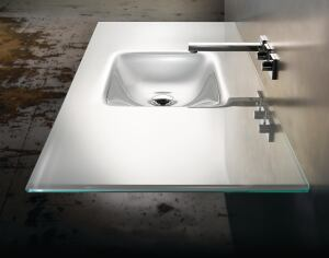 """in vitra veritas  When it comes to sinks, Jacobsen opts for Vitraform glass products from Cherry Creek Enterprises. """"Light dances around this beautiful object,"""" he says. """"It is always the little surprise in the houses we use it in and when lit well from above, it is delightful and powerful."""" Cherry Creek Enterprises, 888.338.5725; www.vitraform.com."""