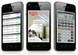 POCKET UTILITY: Builders and contractors are finding lots of useful smart phone applications for their work. Red Laser (left) scans barcodes and then reports who's selling the same product at what price. Velux (center) created a tool that can show how its skylights would look in a customer's home. And Calculated Industries (right) offers a smartphone version of its Construction Master Pro calculator.
