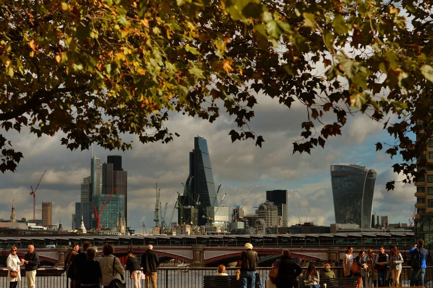 London's Tower 42, Heron Tower, the Leadenhall Building (nicknamed the Cheesegrater), and 20 Fenchurch Street (the Walkie-Talkie) in London in October 2014.