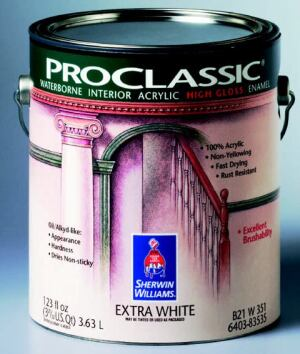 CLASSIC COVER: ProClassic high-gloss waterborne interior acrylic enamel is formulated to meet  or exceed standards for Leadership in Energy and Environmental Design (LEED)–certified  buildings, the company says. The manufacturer says the  low-VOC product also dries quickly to a hard, durable finish that is excellent  for windows, doors, cabinets, and high-traffic areas. Sherwin-Williams  Co. 800-321-1392. www.sherwin-williams.com.