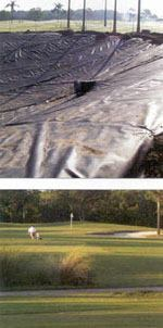 Top: The irrigation system at St. Petersburg, Fla.'s, Mangrove Bay Golf Course features a reclaimed-water storage pond, with a high-density polyethylene liner. Bottom: The Mangrove Bay Golf Course serves more than 75,000 rounds of golf annually. Photos: Wade-Trim and Aerial Innovations