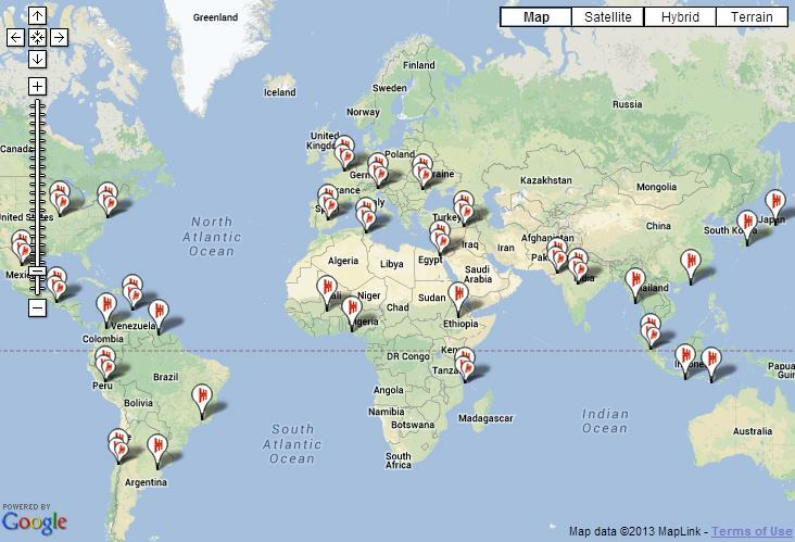 The 2014 World Monument Watch list sites. Screenshot of a WMF interactive map.