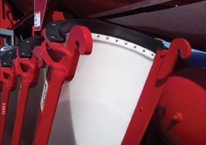 Terex Roadbuilding's aluminum-lined Premier chute is a lighter alternative to  steel.
