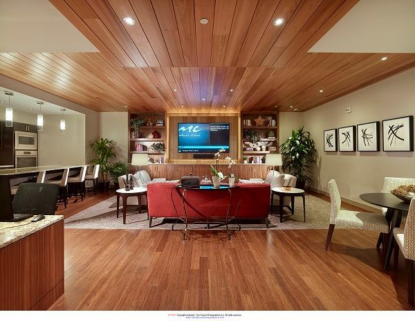 Southstar's large clubroom, complete with a catering kitchen, computer workstations, and big-screen TV.