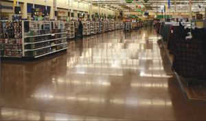 Integrally colored floors with diamond polishing to increase gloss numbers are very popular now for commercial retail construction.