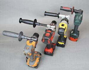 Some side handles flex under load, but the ones on these tools are very solid. From left: The steel handles on the Ridgid and Milwaukee tools clamp onto the tools in fixed positions. The DeWalt and Metabo handles pivot around the nose of the tool and can be locked in place at any angle.