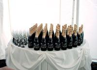 Specially labeled sparkling wine and champagne flutes were given to the 150 guests who attended the special event phase opening of Prairie District Homes, a townhome community in Chicago's historic South Loop.