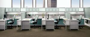 "Adept by Allsteelwww.allsteeloffice.com  Return and wing-wall dividers, desking, storage, and supports    Thin profiles and varied heights    Integrates with all existing Allsteel systems    ""Quick"" connection points promise fast installation and reconfiguration"