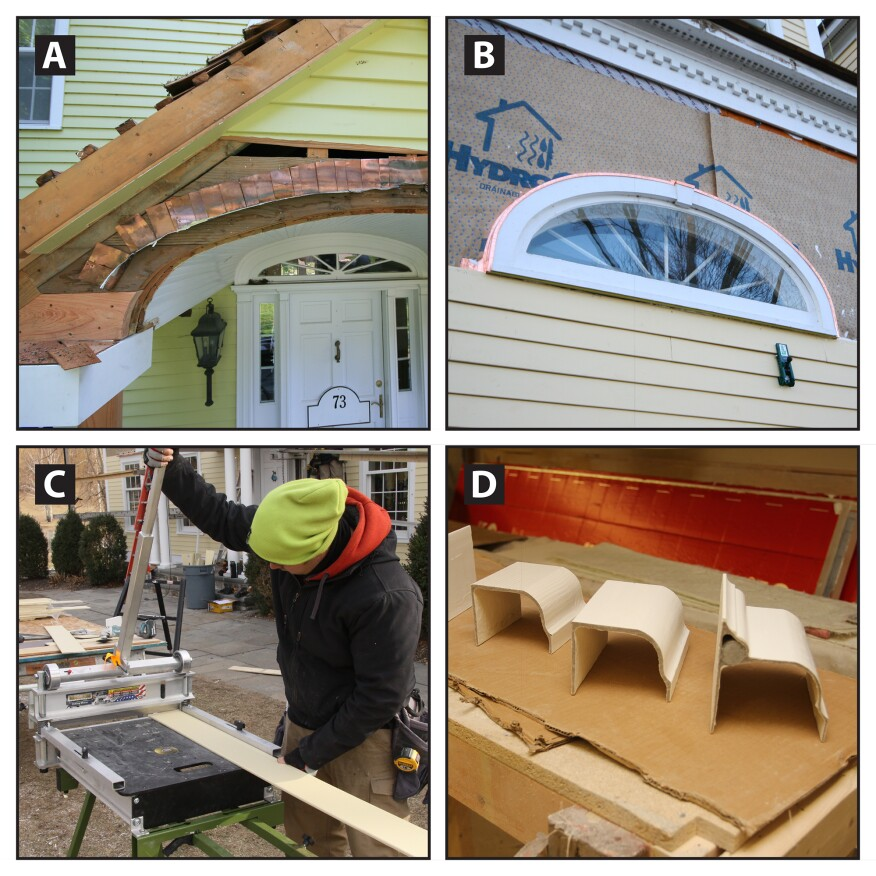 Elliptical flashing; new siding and gutters. There were a few instances where we had to flash above elliptical-shaped head trim. Rather than cobbling together the flashing with a series of stepped pieces to make a curve, as shown here (A), we fabricated one-piece head flashing in our shop. We shaped the three-directional head profile with shrinker and stretcher metal fabricators from Eastwood. Next, we, installed the elliptical flashing similar to the standard head flashing, lapping the ends onto the fiber-cement siding to direct water outward from the WRB (B). For the siding, we field-tested the new dustless siding shear from Bullet Tool to cut the HardiePlank (C). The cutter has a super stiff, sharp blade mounted beneath a lever that shears the material when pressure is applied on the lever. The resulting cut is crisp and smooth, and this method allows the user to skim material off in very small increments. For the replacement gutters, we chose fiberglass ones, manufactured by the Fiberglass Gutter Company. The gutters have been molded from actual cedar and fir wood gutters, which transfer the wood grain look and texture. We visited their factory in Pembroke, MA a few months ago for a demonstration (my crew will be assembling the gutters on site). The gutters are surprisingly strong, given their thin profile (D). The seams connecting long runs and mitered corners are joined with site-mixed resins and fiberglass reinforcing mesh. We're installing the gutters in the near future and plan to use appropriate respirators while doing the seam work.