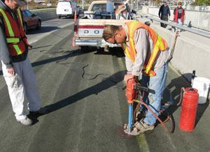 A core test checks how far the sealer has penetrated into the cracks.