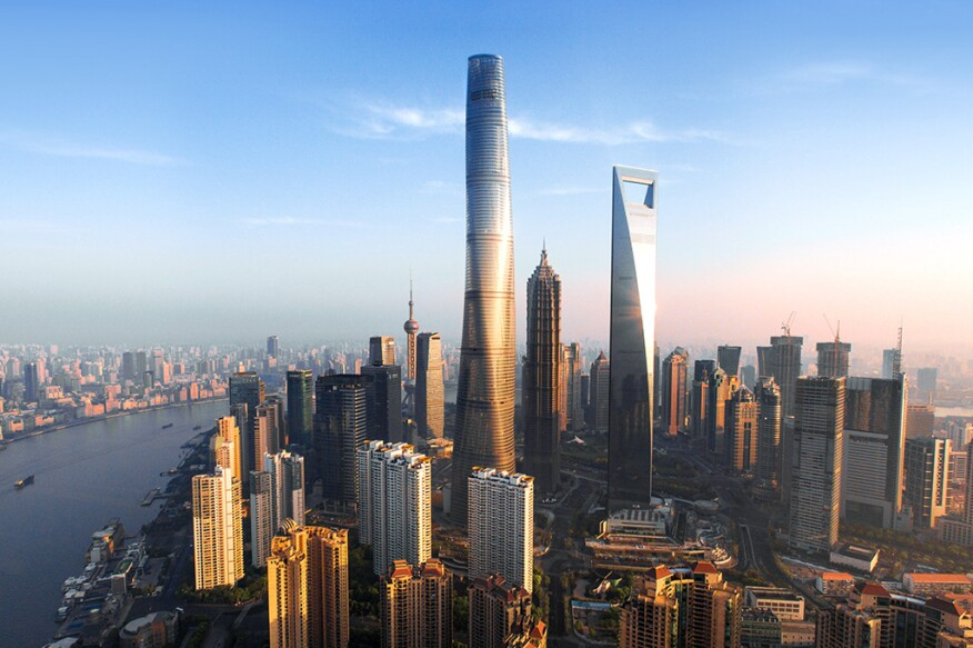 The Shanghai Tower, by Gensler, is scheduled to complete late by the end of  2015.