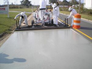 Using specialized machinery, E-Krete is applied without heat by certified contractors. The roadway can be reopened to traffic within an hour of application.