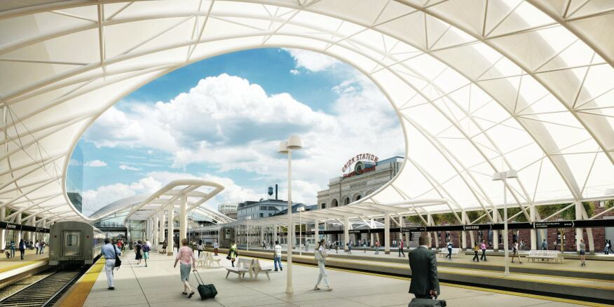 A rendering of the white canopy that will cover the new train platform at Denver's Union Station.