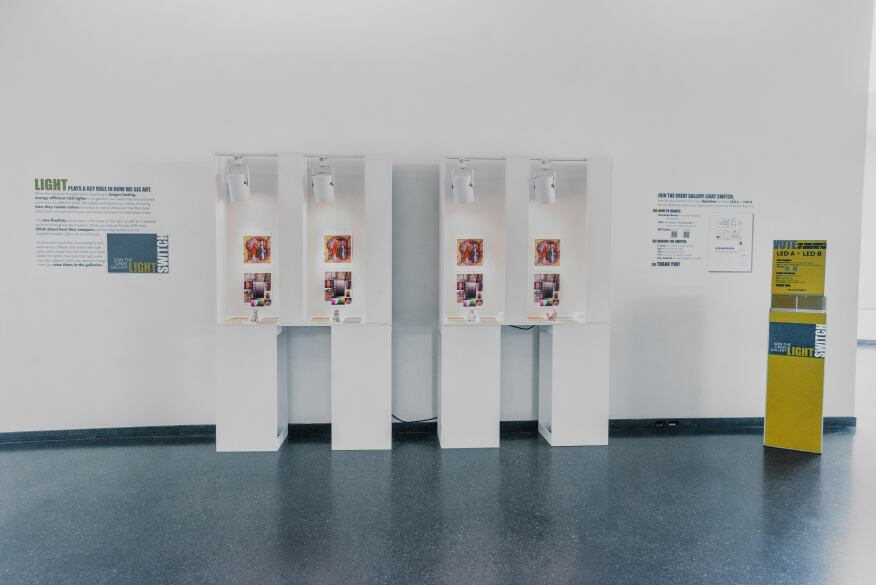 A display of the test sources in the museum's lobby.