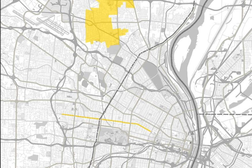 St. Louis, with Delmar Boulevard and the northern suburb of Ferguson in yellow.