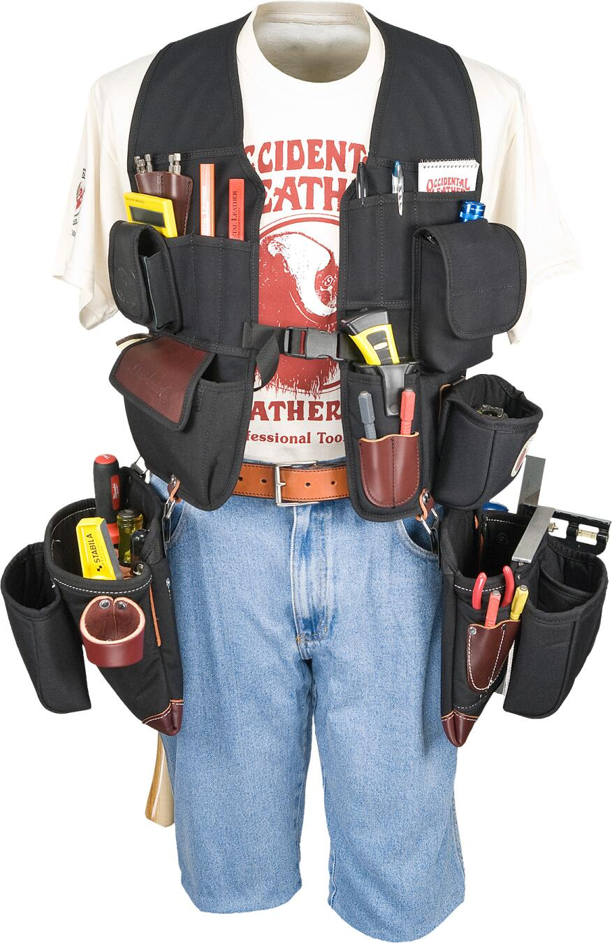 The Builder's Vest 2535 from Occidental Leather comes preconfigured with expansive pockets for lots of gear and can accept numerous clip-on bags and holsters.