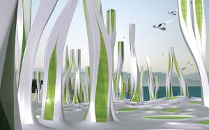 Vertical algae farms will produce hydrogen atoms that will power Iwamoto Scott Architecture's scheme for San Francisco circa 2108.