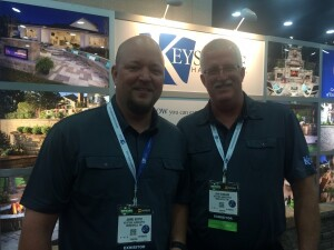 Jimmie Hester (L) and John Schramm (R) were celebrating Keystone's 30th anniversary while exhibiting at Hardscapes North America in Louisville, Ky.