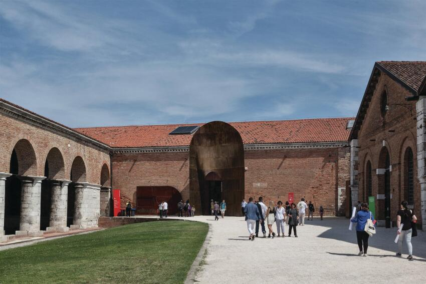 Visitors arrive at the Arsenale in Venice for the 14th International Architecture Exhibition, curated by Rem Koolhaas. Exhibits are housed not only in the Arsenale, which is the city's former shipyards, but also in the national pavilions and Central Pavilion in the nearby Giardini park.
