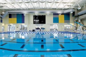 The aquatics complex includes a separate 25-yard-by-25-meter competitive pool supporting various training and aquatic fitness activities, as well as competitive swim events. A 13-foot-6-inch-deep portion of the pool accommodates diving from two 1-meter springboards. Spectator seating for 250 is elevated along one side of the competition pool,creating optimum sight lines.