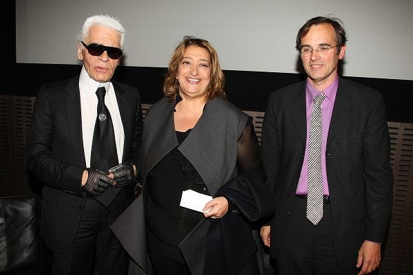 Barry Bergdoll, right, with Karl Lagerfeld and Zaha Hadid.