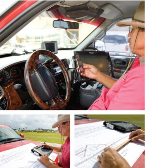COMMAND CENTER: The inside of Jackie Allmond's pickup truck is a veritable office on wheels. There's a laptop stand for his portable tablet-style computer, a GPS navigation system, and a telephone stand. But Allmond also knows how to calculate things the old-fashioned way, such as with a ruler.