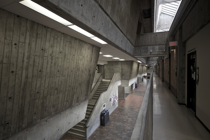 Scarborough's poured-in-place concrete shows the impressions of its formwork