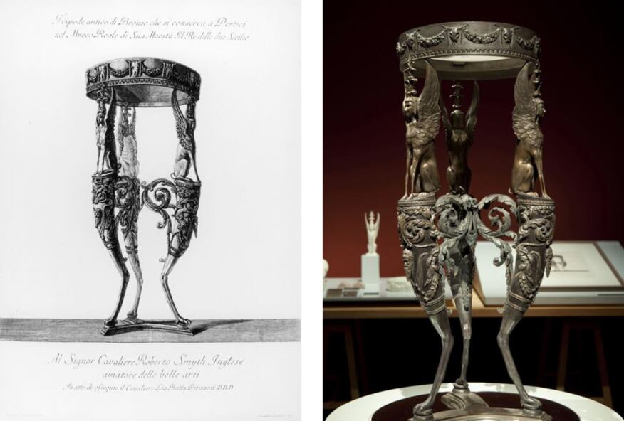 Piranesi's drawing of the Isis Tripod (left) and Factum Arte's 3D construction.