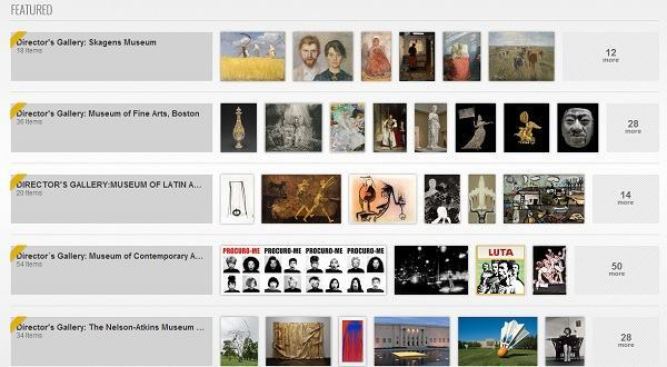 Screenshot of featured Google Art galleries