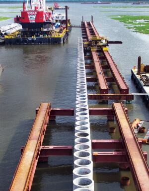 This surge barrier is part of a massive construction effort currently in progress to provide the New Orleans area with additional hurricane protection.