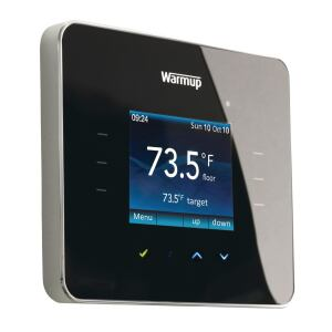 Warmup. The 3iE is a programmable thermostat that's specifically designed for in-floor electric radiant-heated floors, allowing users to set programs to heat floors only when needed. Featuring a low profile and a sleek touchscreen, it is the only thermostat with active energy management, the company says, and automatically adjusts to changing conditions in each room and to the seasons. 888.927.6333. www.warmup.com.