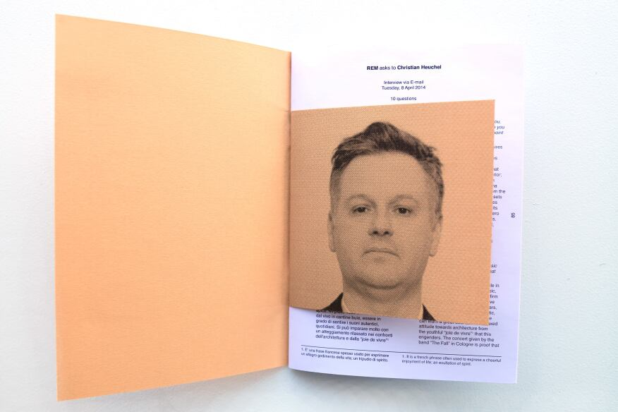 A smaller, colored page with a black-and-white graphic is emblazoned between each printed page of the inteview. The first colored page is a portrait of the interviewed architect. The rest are graphic representations of either renderings or projects done by the architects.