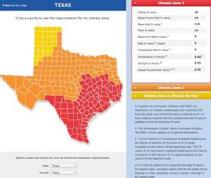 Texas Climate Zone Map. Red is Zone 2, Orange is Zone 3, Yellow 4