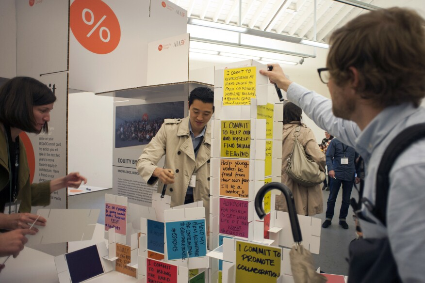 Attendees of AIA San Francisco's 2016 Equity by Design symposium compile action items to promote equity in the architecture profession into an Eames-inspired house of cards.