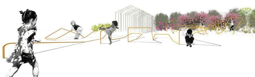 A rendering of Playful Horizons, a playground currently being constructed for the First Congregational Church of Battle Creek in Michigan.