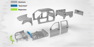 Nearly all of the body parts of the new F-150 are made from aluminum alloy, joined with structural adhesives and specially coated self-piercing rivets. In a steel body truck the connections are made with spot welds.